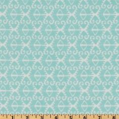 44'' Wide Michael Miller Spa Ikat Aqua Fabric By The Yard - (maybe drapes behind striped sofa)