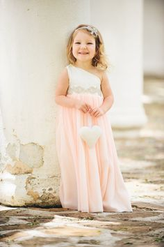 Peach Flower Girl Dress, Rhinestone Sash / Ivory or White - CUSTOM made to fit, CHOOSE your color for the Skirt on Etsy, $159.99