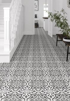 Devonstyle Black Pattern Wall and Floor Tile Devon Style floor tiles make a wonderful feature of any hallway or bathroom. Use the Devon Style Black base tile as a border to create a focal point or deploy across the whole floor for a real stateme Entryway Flooring, Hall Flooring, Unique Flooring, Flooring Ideas, Entryway Decor, Tile Entryway, Hall Tiles, Tiled Hallway, Bathroom Floor Tiles