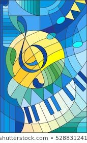 Abstract image of a treble clef in stained glass style - Zafer Emre Modern Stained Glass, Stained Glass Designs, Stained Glass Patterns, Stained Glass Art, L'art Du Vitrail, Jazz Art, Abstract Images, Geometric Art, Sun Stock