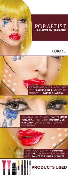 Pop Art Halloween Makeup Tutorial using Infallible Paints and Voluminous mascara. Click to watch the video tutorial featuring Jadey Wadey.