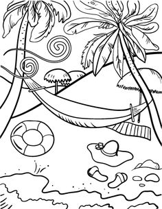 printable beach coloring page free pdf download at httpcoloringcafecom - Palm Tree Beach Coloring Page
