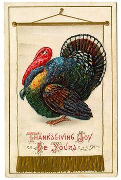 *The Graphics Fairy LLC*: Vintage Thanksgiving Clip Art - Colorful Turkey