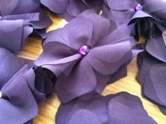 Fabric Flowers :  wedding fabric green purple ivory ceremony flowers diy Purple Fabric Flower