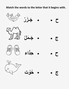 Arabic worksheet on the site, met welke letter begint het woord? Arabic Alphabet Letters, Arabic Alphabet For Kids, Alphabet Worksheets, Preschool Worksheets, Preschool Learning, Learning Tools, Learning Activities, Teaching, Arabic Handwriting