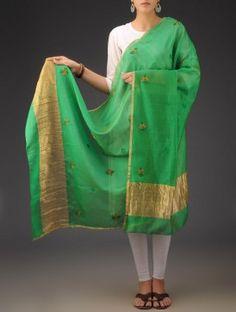 Green Chanderi  Phool Patti Chikankari Embroidered Dupatta