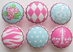 Girl's Handpainted Drawer KnobsPink Boutique Knobs by LeilasLoft, $72.00