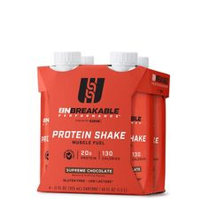 UNBREAKABLE PERFORMANCE Protein Shake - Supreme Chocolate, 4 Bottles After Workout, Post Workout, Nutrition Drinks, Protein Supplements, Protein Shakes, Non Profit, Supreme, Vanilla, The Incredibles