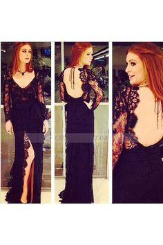 V+Neck+High+Slit+Lace+Floor+Length+Black+A+Line+Prom+Evening+Dress+Os0201
