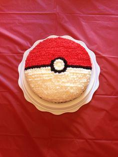 Pokemon pokeball cake I made for my 6 yr old!