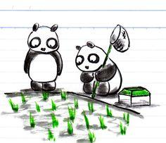 【一日一大熊猫】 2014.6.30 この時期の田にはホウネンエビやカブトエビという生き物がいるよ。 よく見てみよう。オタマジャクシ以外にも比較的大きな生物がいるよ。