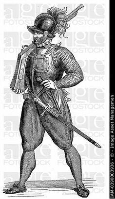 Foot soldier carrying an arquebus  Engraving after Cesare Vecellio ´Degli habiti antichi et moderni´ 1590