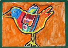 Door Floor, groep 8 Benodigdheden : wit tekenpapier op A3 formaat plakkaatverf kwasten papieren doekjes potten water gekleurd karton voor ac... Dutch Painters, Outsider Art, Art Studies, Art For Kids, Scandinavian, Moose Art, Birds, Abstract, Gallery