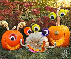 Playful eyes and uniquely shaped gourds turn this year's pumpkins into easy-to-make silly monsters that any kid will love. Our free pattern downloads and pumpkin carving how-to make carving these smiling pumpkins a breeze.