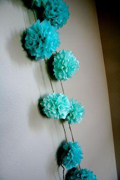 Aqua Love ... diy tissue paper pom garland // nursery by PomLove, $20.00