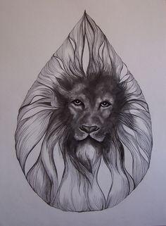 Lion portrait by Charlotte Cynthia Walton