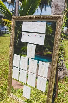 Table plan on a mirror #samuiweddings #wedding #tableplan  Photo by Cherry May Ward