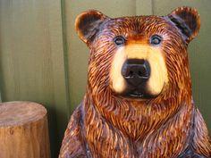 Sleepy Hollow Art by SleepyHollowArtists Hollow Art, Whittling, Sleepy Hollow, Wood Sculpture, Black Bear, Shih Tzu, Wood Carving, Rustic Wood, Wildlife