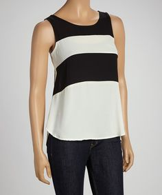 Take a look at this Black & White Stripe Tank by Potter's Pot on #zulily today!
