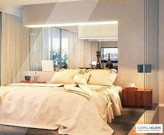 """Neste projeto de suíte de um casal muito querido, os clientes demandaram um ambiente """"menos é mais""""✔, com iluminação difusa e indireta. Embutimos uma fita de LED em um espelho recuado na parede da cama, e demarcamos a área de dormir com um grande tapete cinza-escuro.  #camilakleinarquiteta #suíte #bedroom #interiordesign #iluminação #lightning #iluminaçãoembutida #luminotecnica…"""