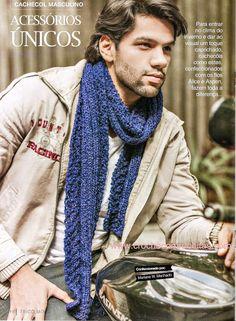 fa24978eec8 CROCHE COM RECEITA  Cachecol Alice masculino em tricô. FOR SEASONS Info ·    Crochet Men s Hats and Scarves