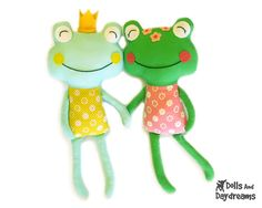 """This sewing pattern is to make a Frog Prince softie that is 18.5"""" (47 cm) tall from cotton and felt fabrics. Perfect for your little Princess"""