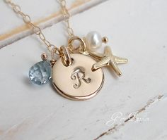Sea Star -14k Gold Fill Hand Stamped Initial Disc Starfish Charm Necklace London Blue Topaz White Pearl Pendant - Ocean Beach Sea - Handmade on Etsy, 293:92 kr