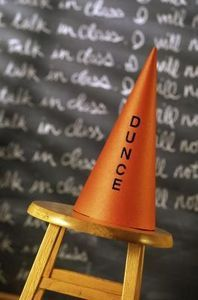 Adults Dunce Hat Naughty Victorian School White Cone Hat Fancy Dress