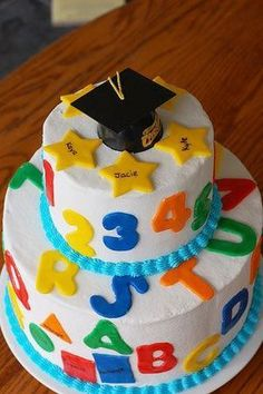 Cakes You Can Bake in a Tube or Bundt Cake Pan Graduation Cakes, Cupcakes and Desserts: A Preschool Graduation Cake… Pre K Graduation, Kindergarten Graduation, Graduation Celebration, Graduation Cake, Graduation Ideas, Graduation Flowers, Kindergarten Party, Cupcakes, Cake Cookies