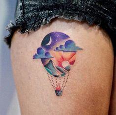Hot air baloon tattoo