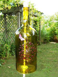 Wine bottle wind chime - green
