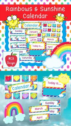 "Aug 19, 2020 - This Rainbow and Sunshine themed calendar set is part of my Rainbows and Sunshine classroom decor collection. Each calendar piece is accented with bright colors and rainbow themed graphics :)This set includes:12 monthly tags7 weekday tags7 weekday headers31 square number tags1 ""Yesterday Was"" poster..."