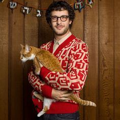 Geltfiend Spinmaster Cardigan Men's now featured on Fab. Ugly Hanukkah Sweater, Ugly Sweater Party, Ugly Christmas Sweater, Holiday Sweaters, Men With Cats, Awkward Photos, Sweaters For Women, Men Sweater, Cool Poses