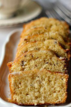 Lavender Tea Bread (3/4 c milk, 3 tbs fresh lavender, 6 tbs butter, 1 c sugar, 2 eggs, 2 c flour)