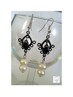 Authentic Cultured Pearl and Black Crystal Drop by Euphena on Etsy, £32.00