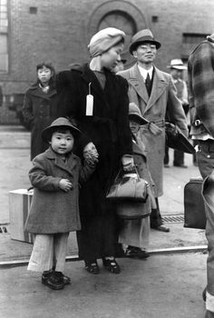 Japanese-American family waiting for relocation Los Angeles,1942~Photo by Russell Lee for the Office of War Information ~♛