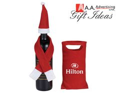 Dress a wine bottle up with this Holiday Vino Set that includes hat and scarf. Place the hat on the top of a wine bottle and the scarf fits securely around the neck of the bottle. Corporate Awards, Corporate Gifts, Christmas Gifts For Him, Holiday Gifts, Gifts For Her, Great Gifts, Wine Tote, Business Gifts, Wine And Beer