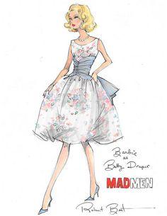 Barbie as Betty Draper. Mad Men. Illustration by Robert Best.