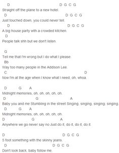 One Direction - Midnight Memories Chords Capo 2