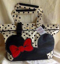 Disney Parks Authentic Minnie Mouse NWT Black Ivory Red Tote Bag Large Purse