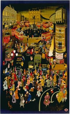 This high resolution London Underground poster showing Piccadilly Circus was painted by Molly Moss in titled Out and About in Winter London. Circus Poster, Retro Poster, Poster Ads, Advertising Poster, Poster Prints, London Poster, London Art, London Underground, Underground Tube