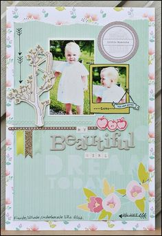 My Beautiful Girl - by Carina Lindholm using the Dear Lizzy 5th  Frolic collection from American Crafts. #scrapbooking