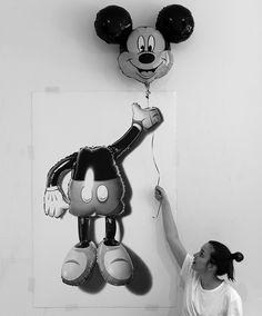 New drawing by CJ Hendry. Headless Mickey Balloon