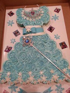 Frozen Dress Cupcake Cake