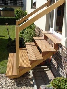 Outdoor Wooden Stairs Giving Unique Warm Look to Modern Houses Stairs Ideas Givi. Outdoor Wooden Stairs Giving Unique Warm Look to Modern Houses Stairs Ideas Giving Houses Modern Outdoor stairs Unique Warm wooden Deck Stair Railing, Outdoor Stair Railing, Patio Stairs, Garden Stairs, Concrete Stairs, Exterior Stairs, House Stairs, Stair Handrail, Outside Stairs