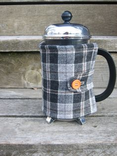Repurposed Gray Flannel French Press Cozy by emeHANDMADE on Etsy, $20.00