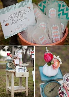 "Aqua & Coral Sweethearts Themed Birthday Party - ""to-go"" boxes for filling with candy, candy is displayed throughout the tables as decor"