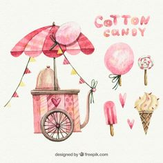 Watercolor cotton candy cart, lollipop and ice creams Free Vector Ice Cream Cart, Candy Cart, Music Drawings, Dibujos Cute, Clipart, Cotton Candy, Vector Art, Watercolor Paintings, Paper Crafts