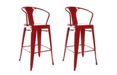 Lot de 2 chaises hautes design industriel métal rouge FACTORY XL - Zoom