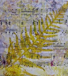 Robyn's fern print on music paper, created via a gelli plate.  This one was created by printing the fern onto the plate then onto the paper. Also lots of washes and delicate background colours to set the main image off without overpowering it.